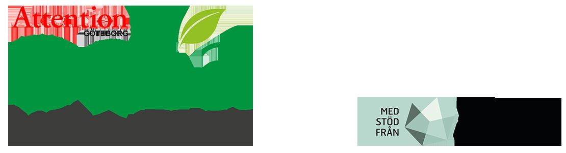 Logga för projektet. Överst står Attention Göteborg, därefter odla hela livet. Odla skrivs med gröna bokstäver och ett löv sticker upp från texten. Även Allmänna Arvsfondens logga finns med på bilden.